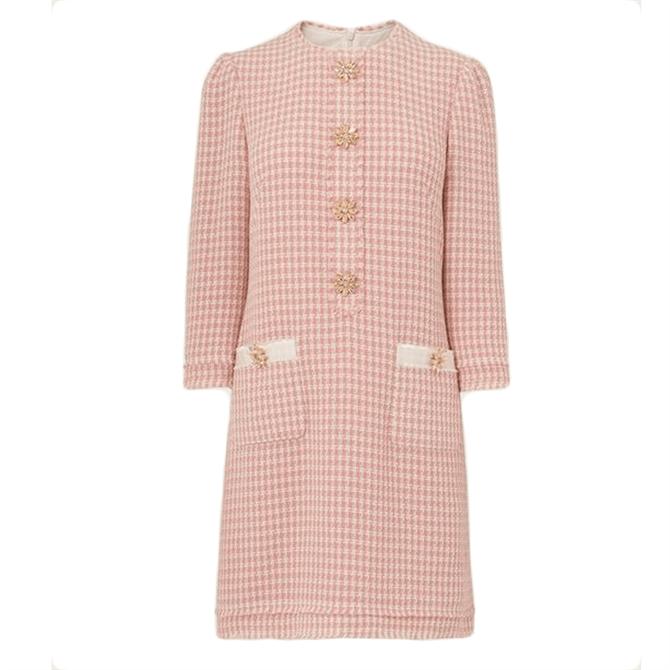 L.K. Bennett Beau Pink Cream Tweed Dress