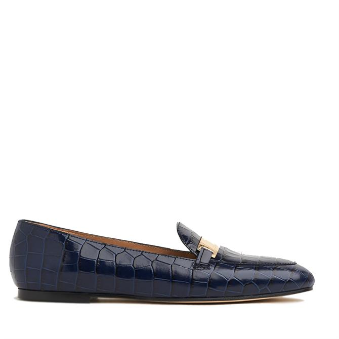 L.K. Bennett Primrose Navy Croc-Effect Leather Loafers