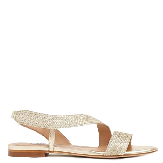 L.K. Bennett Rachel Gold Lurex Rope Flat Sandals