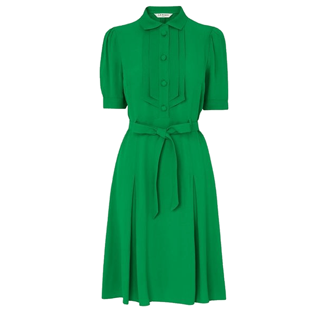 L.K. Bennett Shrimpton Green Crepe Tea Dress