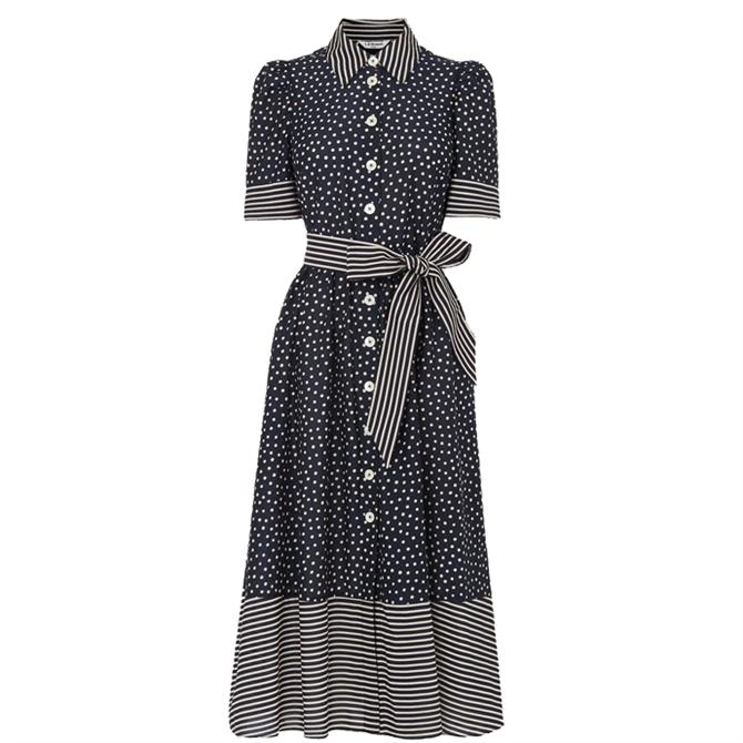 L.K. Bennett Smith Navy & Cream Spot Print Cotton-Silk Shirt Dress