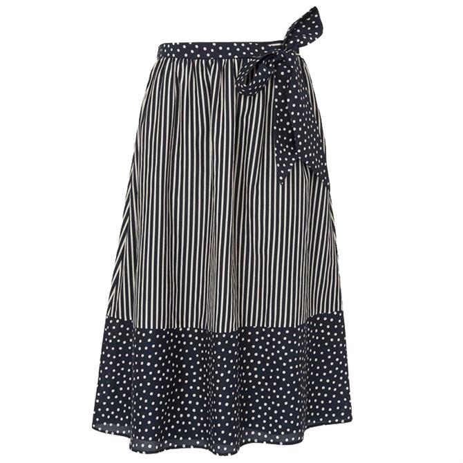 L.K. Bennett Smith Navy & Cream Stripe Print Cotton-Silk Skirt