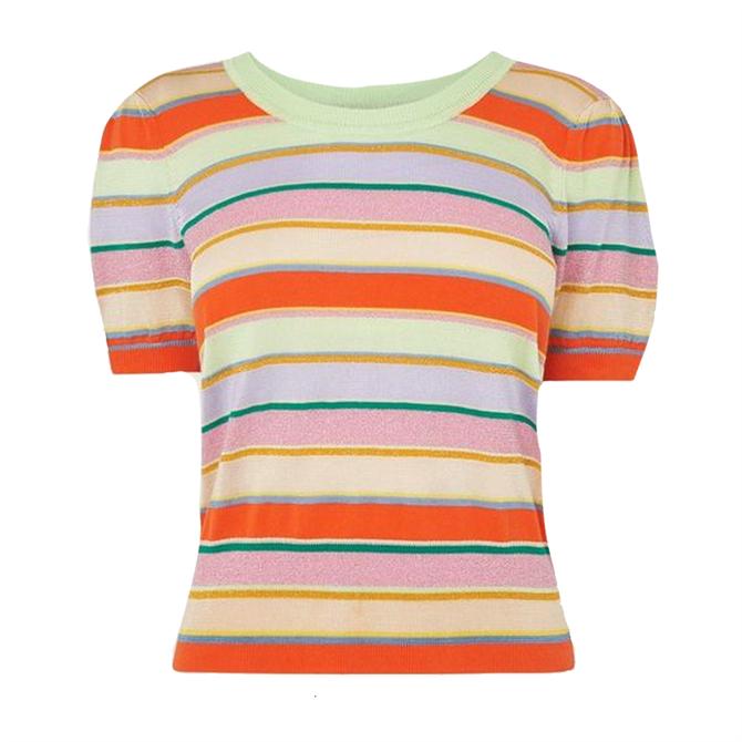 L.K. Bennett Sonya Multi Stripe Lurex Cotton Knitted Top