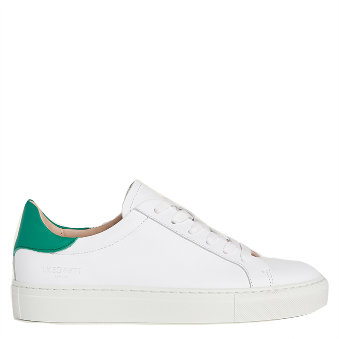 L.K. Bennett Tokyo White & Green Leather Trainers