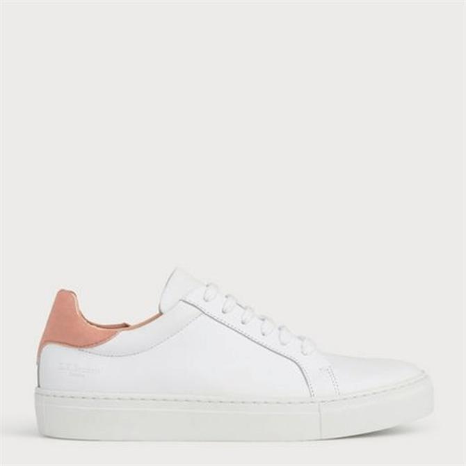 L.K. Bennett Tokyo Pink Heel White Leather Trainers