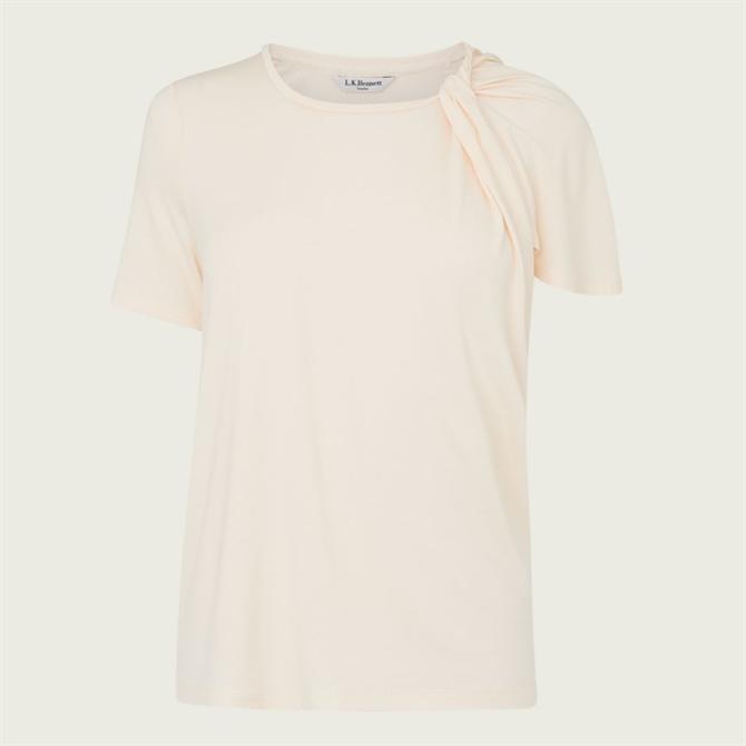 L.K. Bennett Riley Cream Jersey Twist Neck T-Shirt