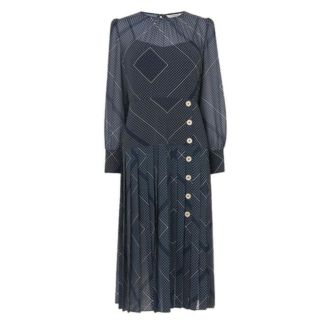 L.K. Bennett Navy Handkerchief Print Pleated Dress