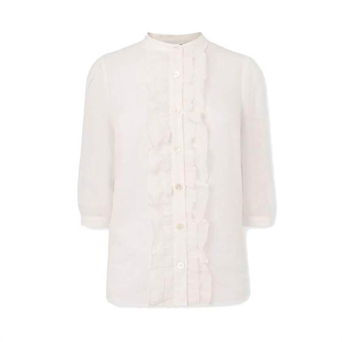 L.K. Bennett Daisy White Cotton Silk Ruffle Blouse