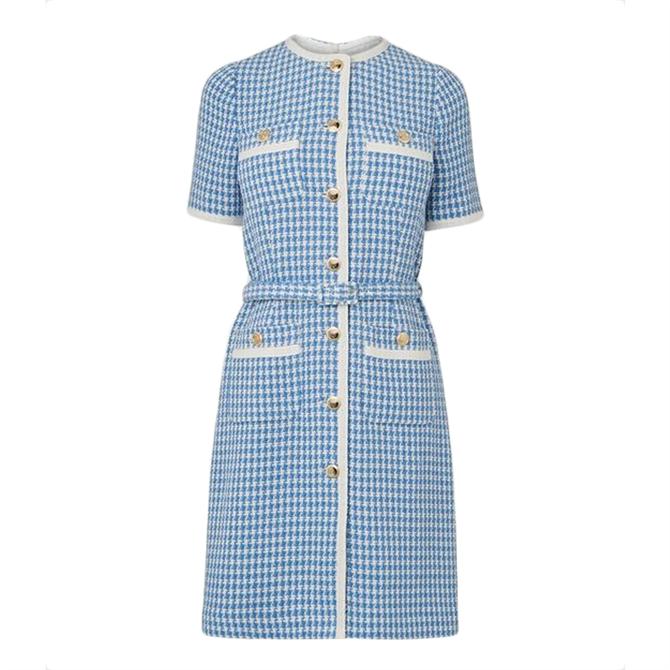 L.K. Bennett Valentina Blue Cream Tweed Dress