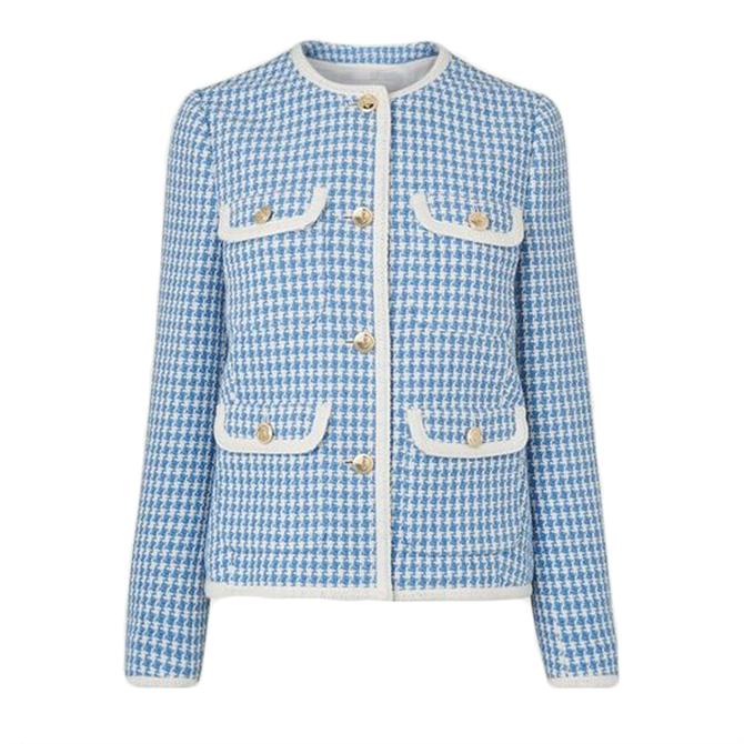 L.K. Bennett Valentina Blue Cream Tweed Jacket