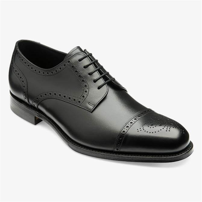 Loake Nuffield Black Leather Brogue Derby Shoe