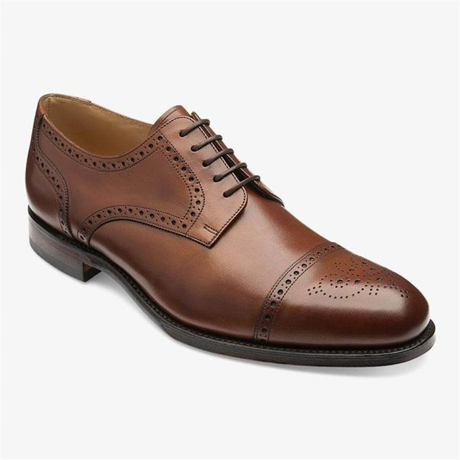 Loake Nuffield Brown Leather Brogue Derby Shoe