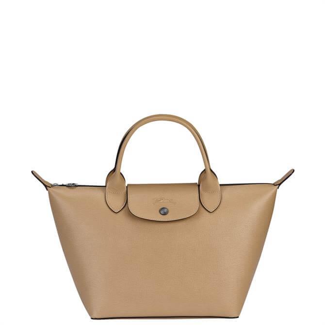 Longchamp Le Pliage Cuir Beige Top Handle Bag S