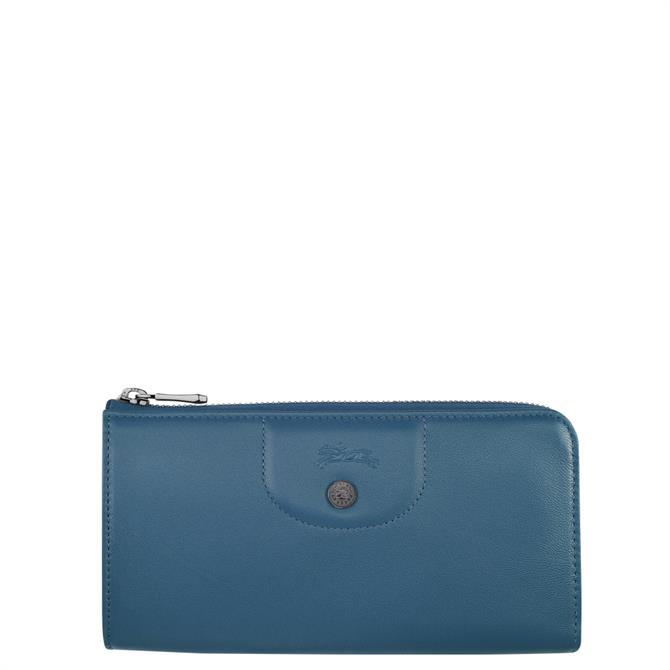 Longchamp Le Pliage Cuir Pilot Blue Long Zip Around Wallet