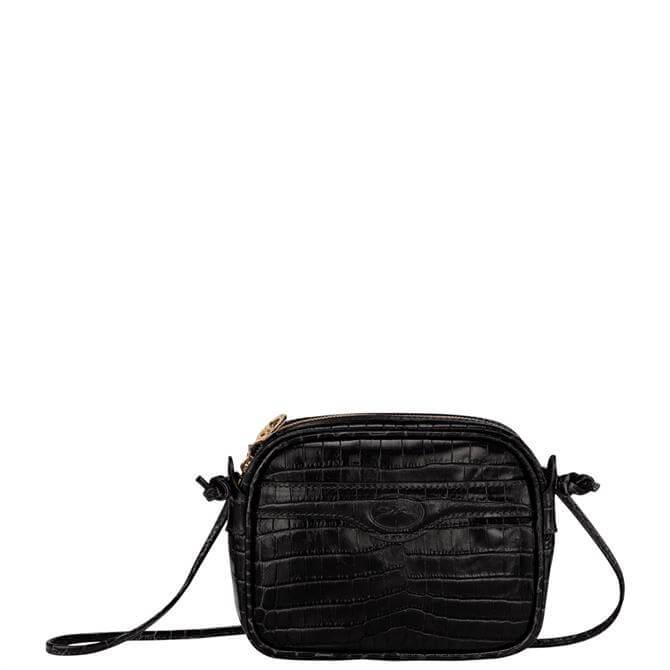 Longchamp 1980 Black Croco Crossbody Bag XS