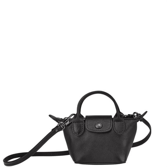 Longchamp Le Pliage Cuir Black Crossbody Bag XS