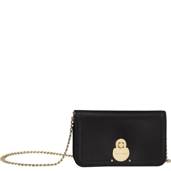 Longchamp Cavalcade Black Wallet on Chain