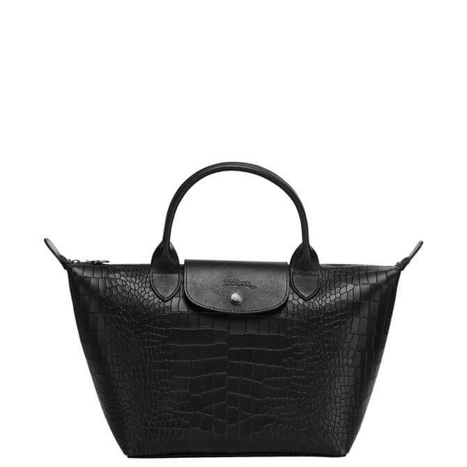 Longchamp Le Pliage Cuir Croco Top Handle Bag S