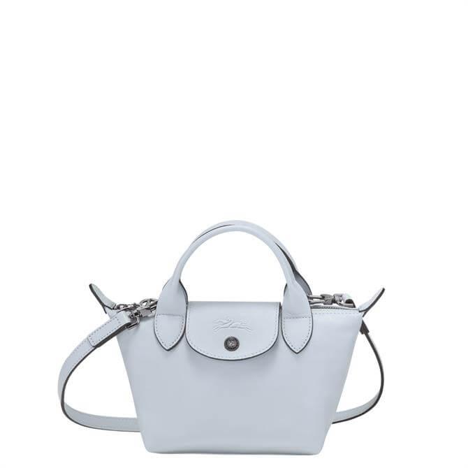 Longchamp Le Pliage Cuir Sky Blue Top Handle Bag XS