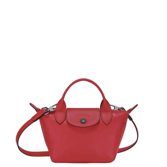 Longchamp Le Pliage Cuir Red Top Handle Bag XS