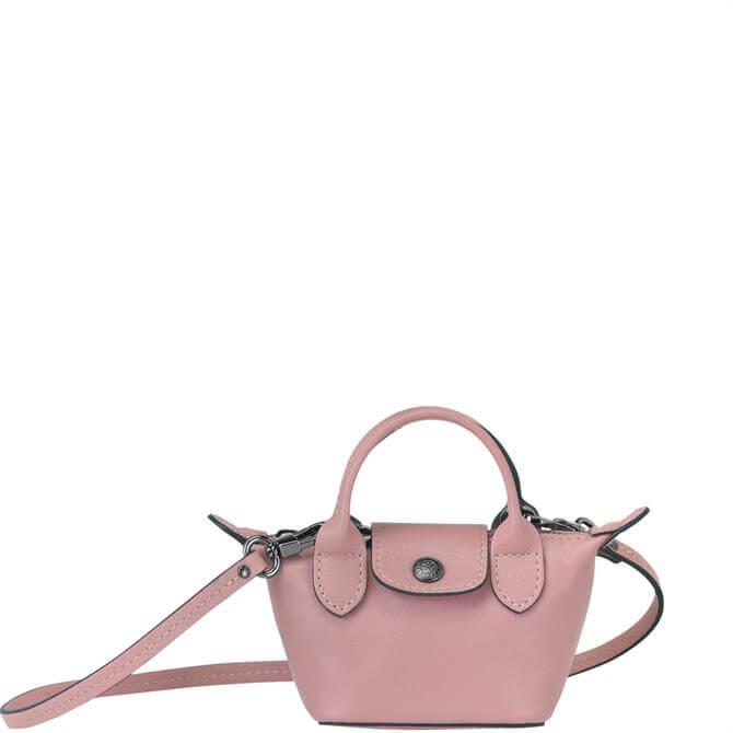 Longchamp Le Pliage Cuir Antique Pink Crossbody Bag XS