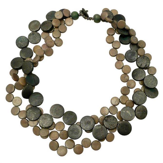 Lotusfeet 3 Strand Two Tone Beaded Cascade Necklace