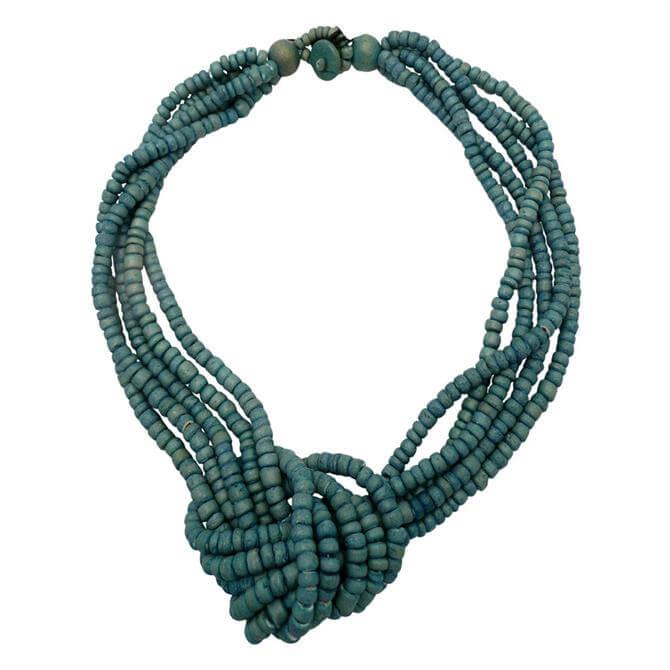 Lotusfeet Heishi Beaded Knot Necklace