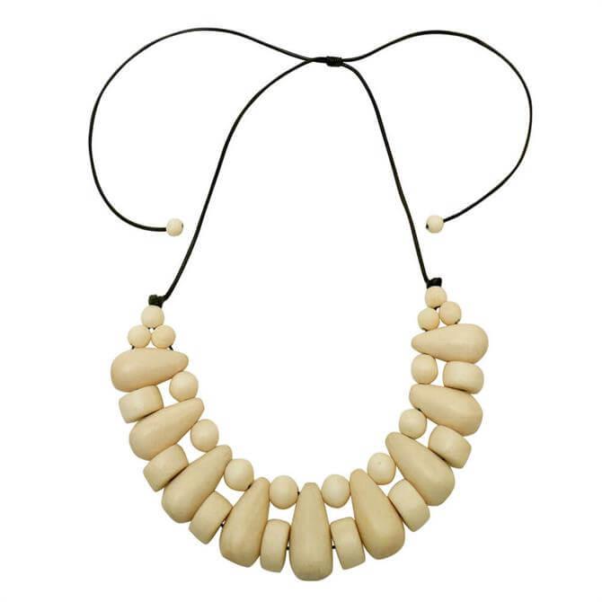 Lotusfeet Wooden Beaded Choker Necklace