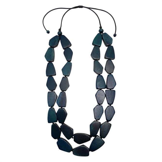 Lotusfeet Wooden Pebble Beaded Necklace