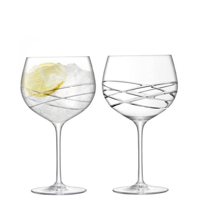 LSA Wave Cut Gin Balloon Glasses