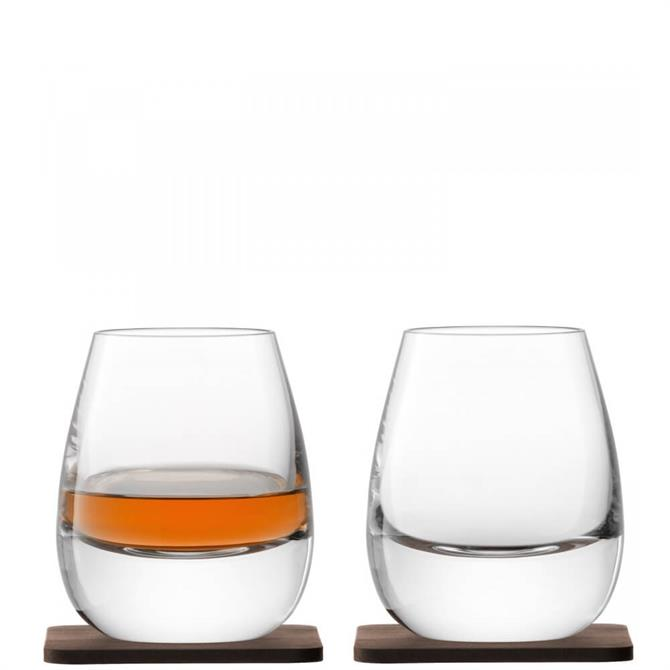 LSA International Set of 2 Islay Tumbler & Walnut Coaster