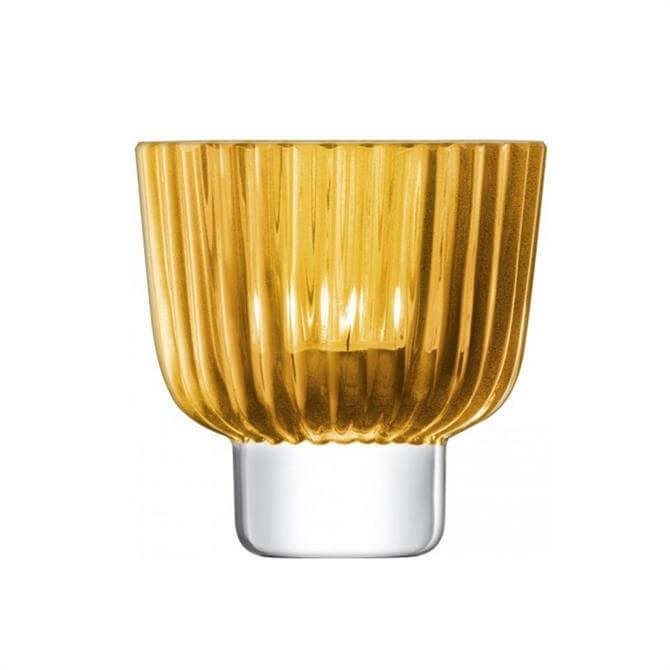 LSA Pleat Tealight Holder Amber 9.5cm