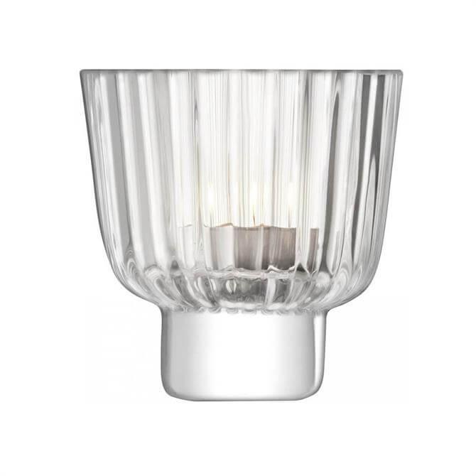 LSA Pleat Tealight Holder Clear 9.5cm