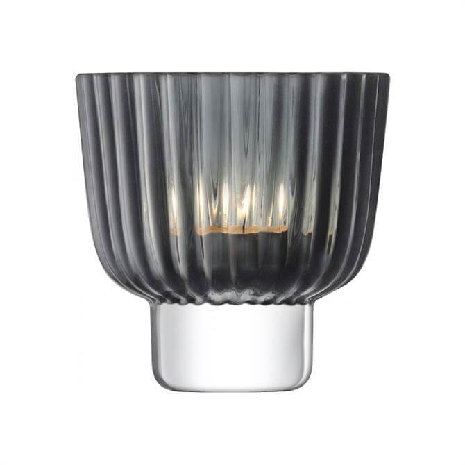 LSA Pleat Tealight Holder Grey 9.5cm