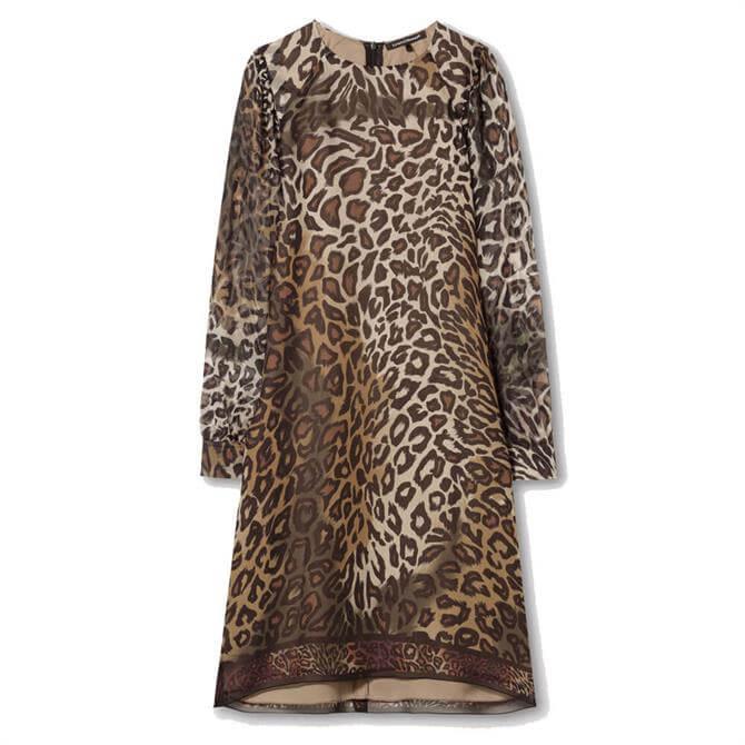 Luisa Cerano Animal Print Silk Dress