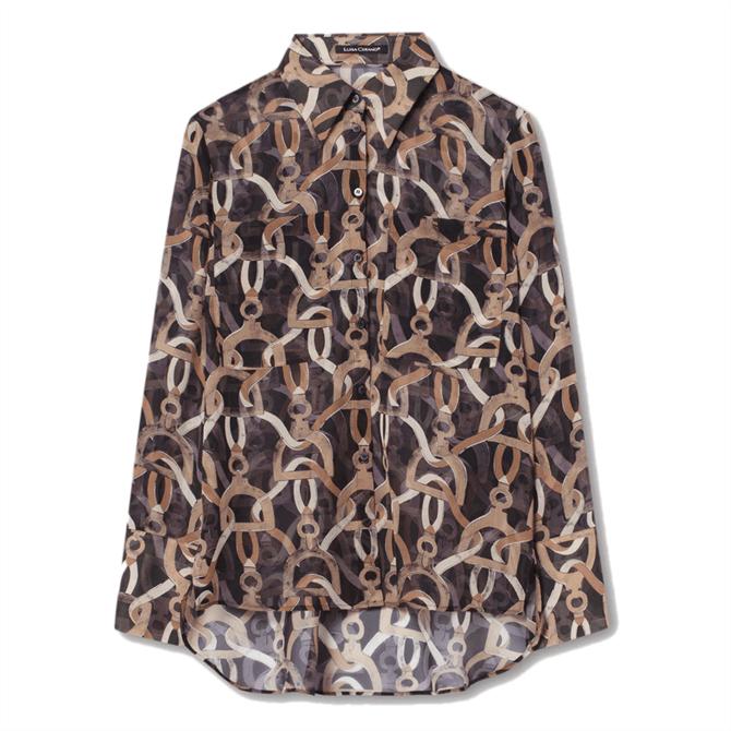 Luisa Cerano Chain Print Silk Blouse