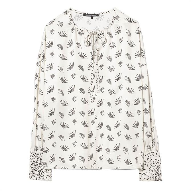 Luisa Cerano Fan Print Tunic Blouse