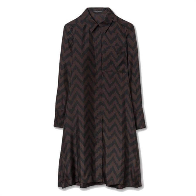 Luisa Cerano Large Herringbone Print Blouse Dress
