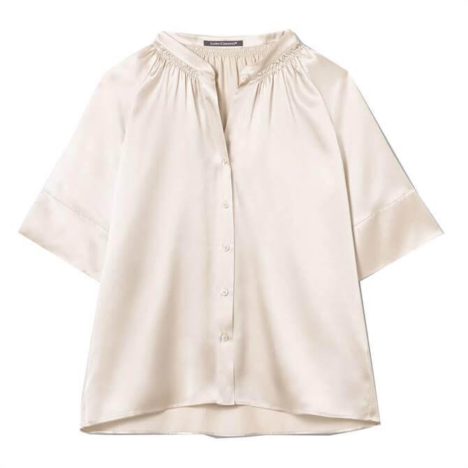 Luisa Cerano Silk Satin Half Sleeve Blouse