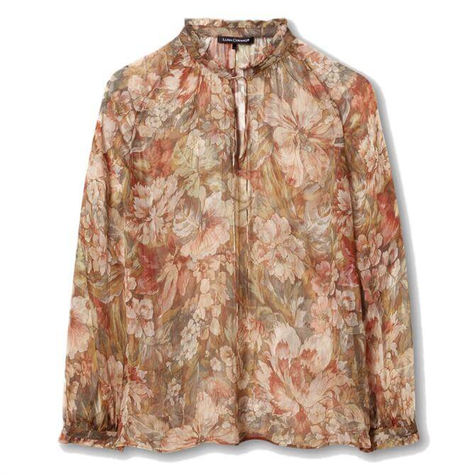 Luisa Cerano Floral Stand-Up Collar Silk Blouse