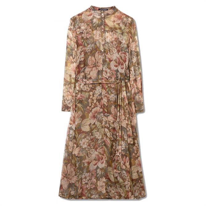Luisa Cerano Silk Crêpe Floral Tie Waist Dress