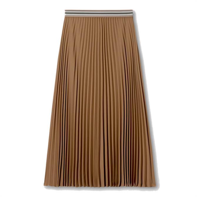 Luisa Cerano Striped Waistband Pleated Skirt