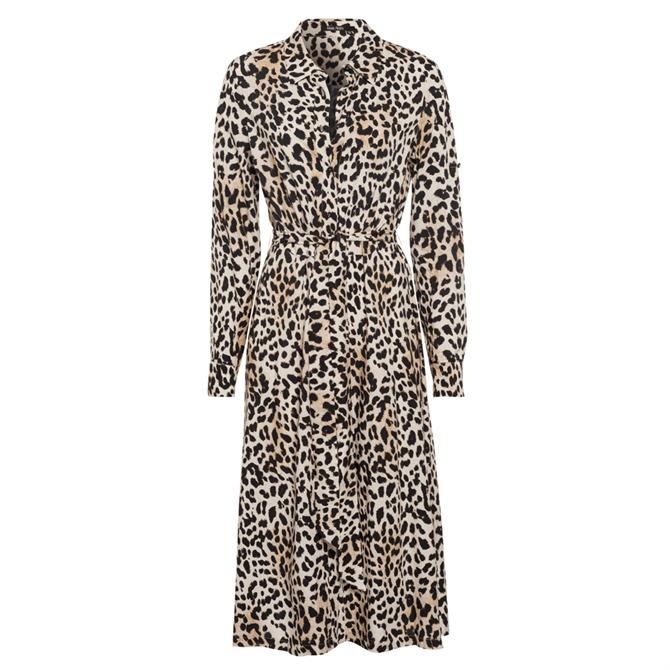 Marc Aurel Leopard Print Shirt Dress