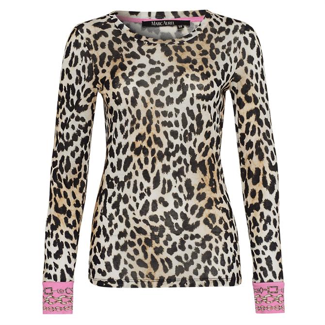 Marc Aurel Leopard Print & Contrast Cuff Top
