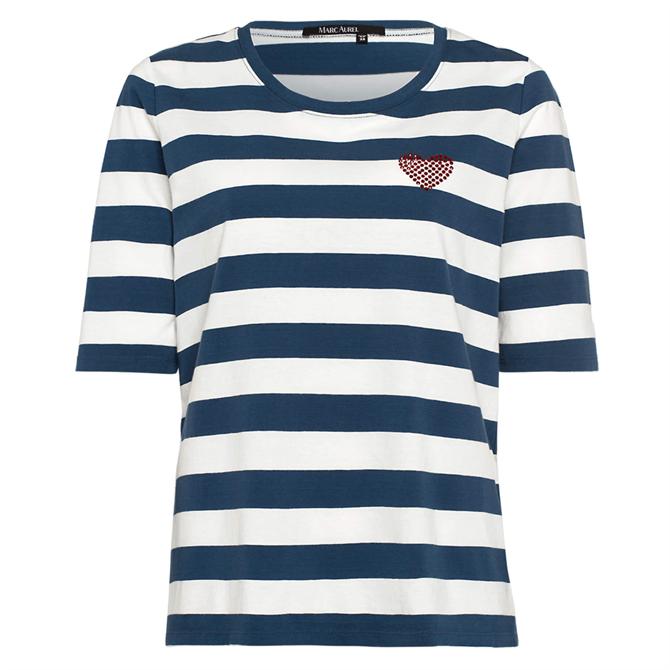 Marc Aurel Block Stripe & Heart T-Shirt