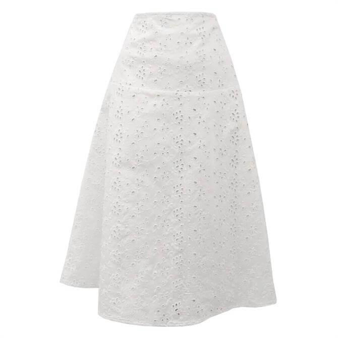Pennyblack Lessema Broderie Anglaise White Midi Skirt