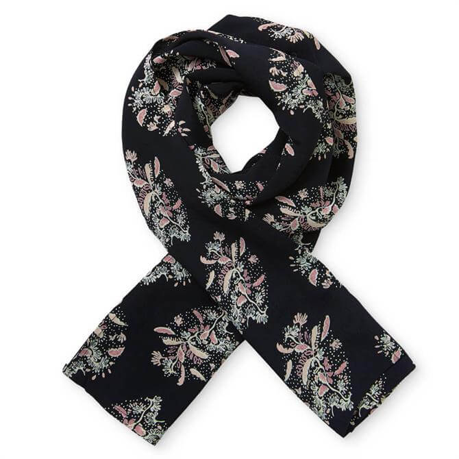 Masai Along Black and Wood Rose Floral Print Scarf
