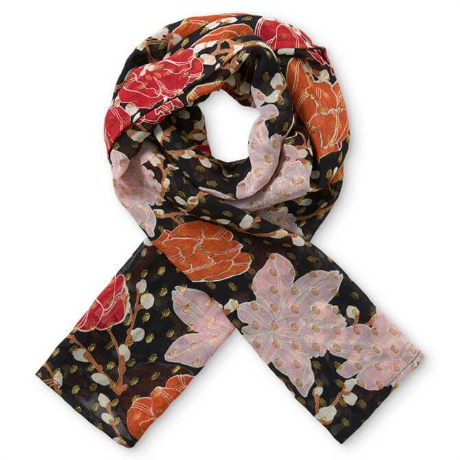 Masai Along Floral and Gold Spot Scarf
