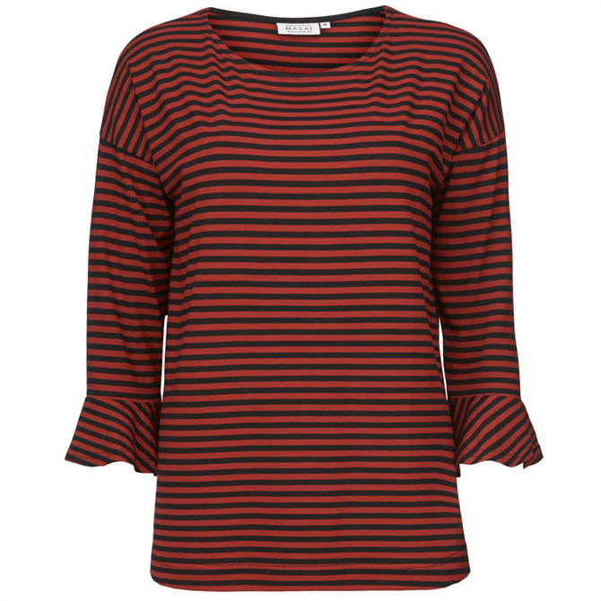 Masai Birgit Striped Jersey ¾ Sleeve Top