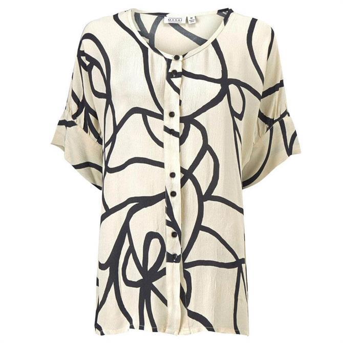 Masai Black and White Short Sleeve Iesha Shirt